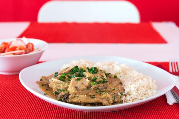Saftschnitzel mit Champignons und Reis
