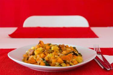 Kürbis-Zucchinieintopf mit Speck