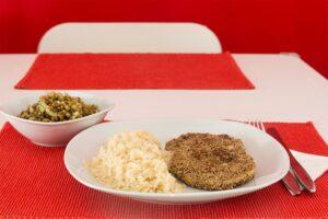 Zeller mit Sesam gebacken und Reis