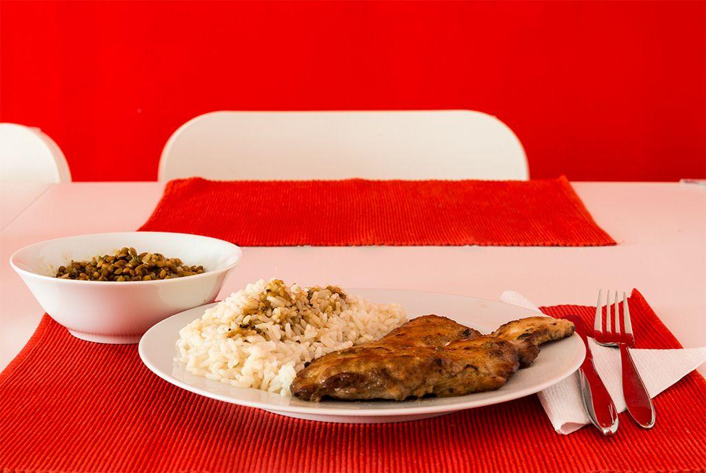 Naturschnitzel mit Reis