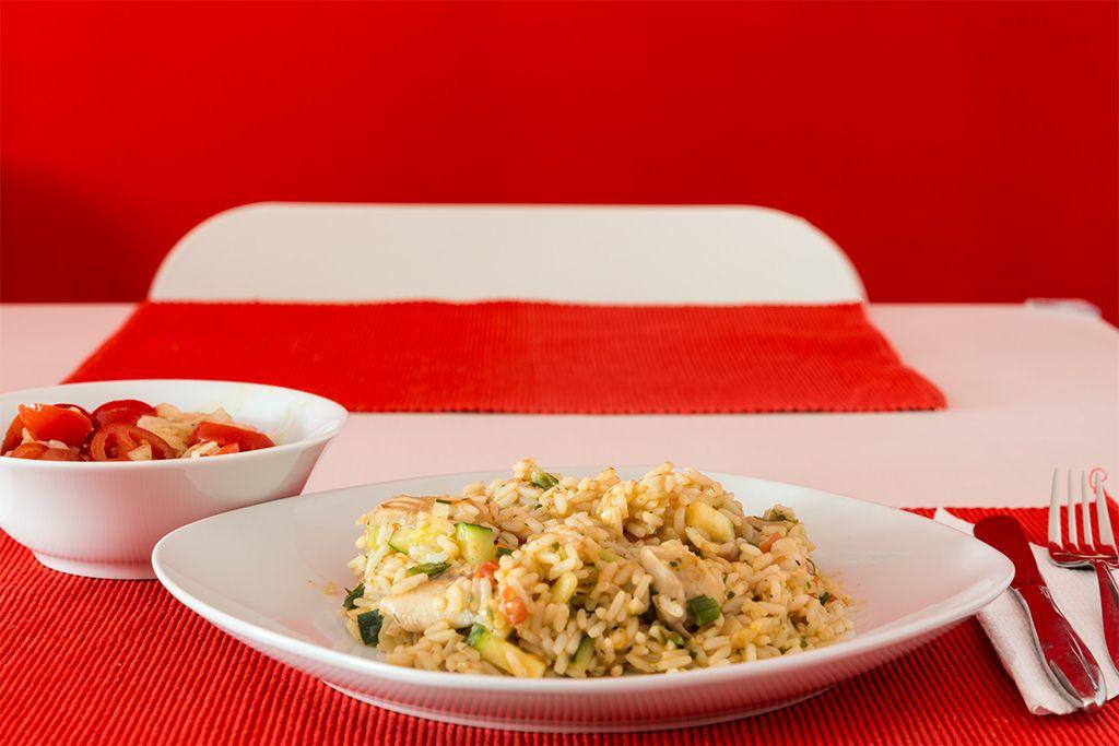 Fischpfanne mit Reis und Gemüse